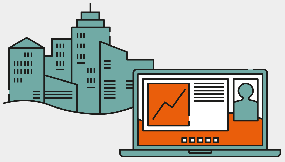 Illustration of a cityscape and a MacBook
