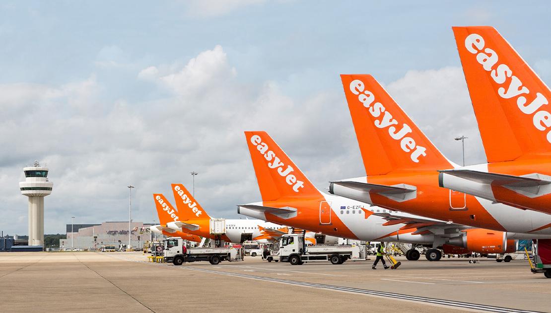Easyjet aeroplanes at the airport