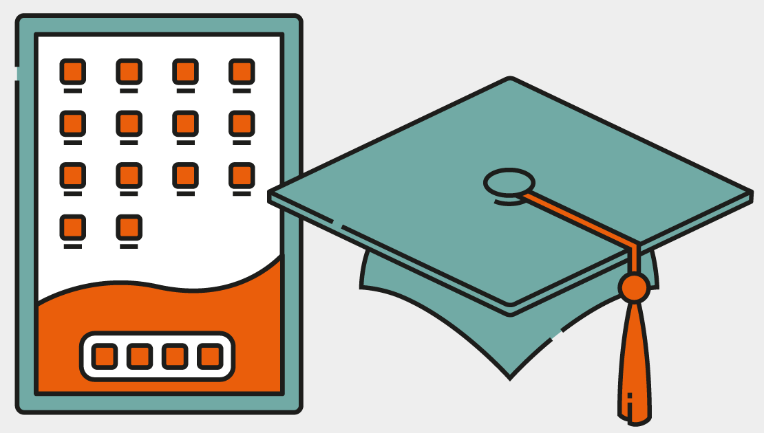 Illustration of an iPad and mortar board