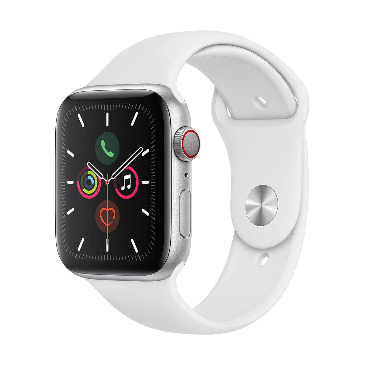 Apple Watch S5 44mm Silver Aluminium with white Sport Band + GPS