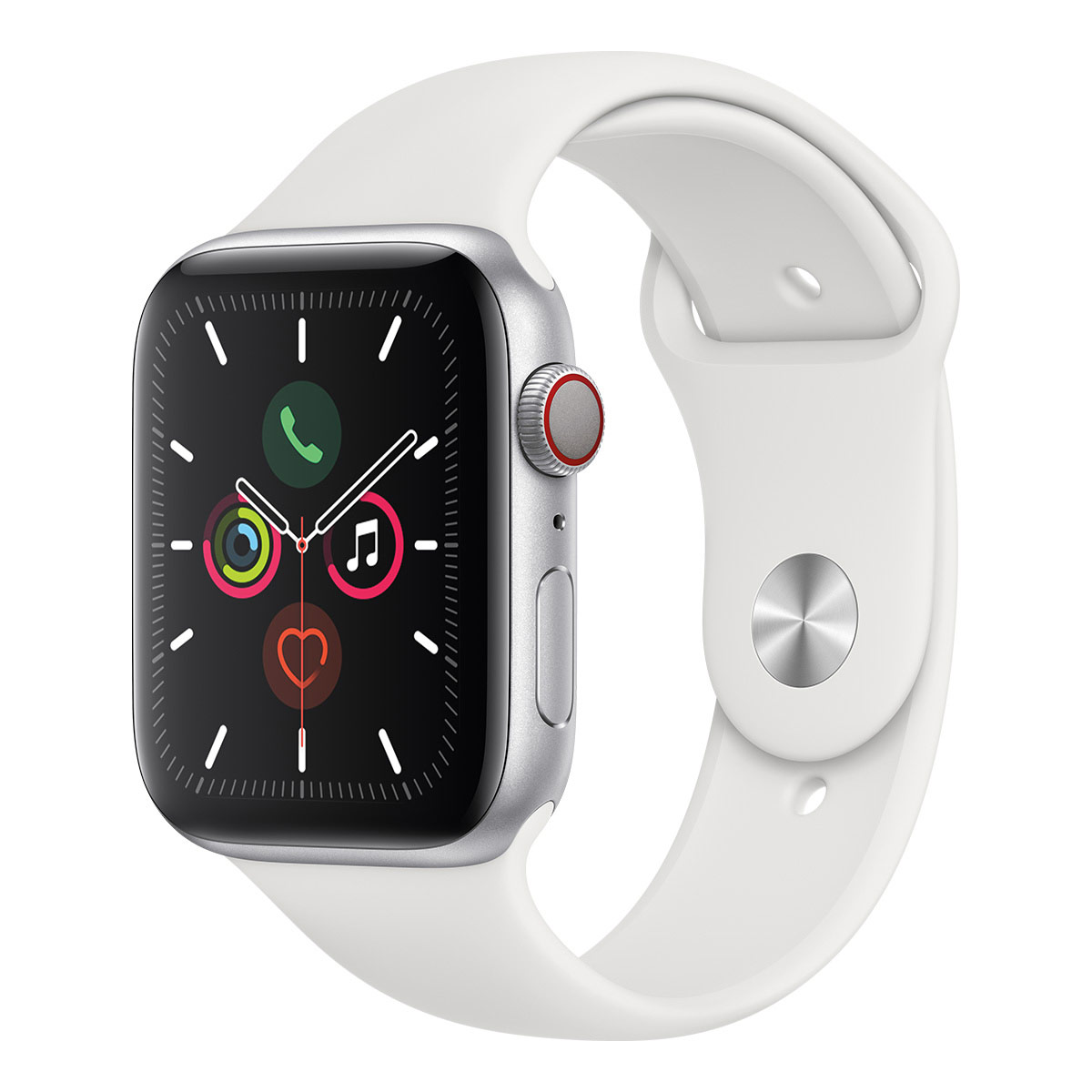 Apple Watch S5 44mm Silver Aluminium Case with White Band + GPS + Cell