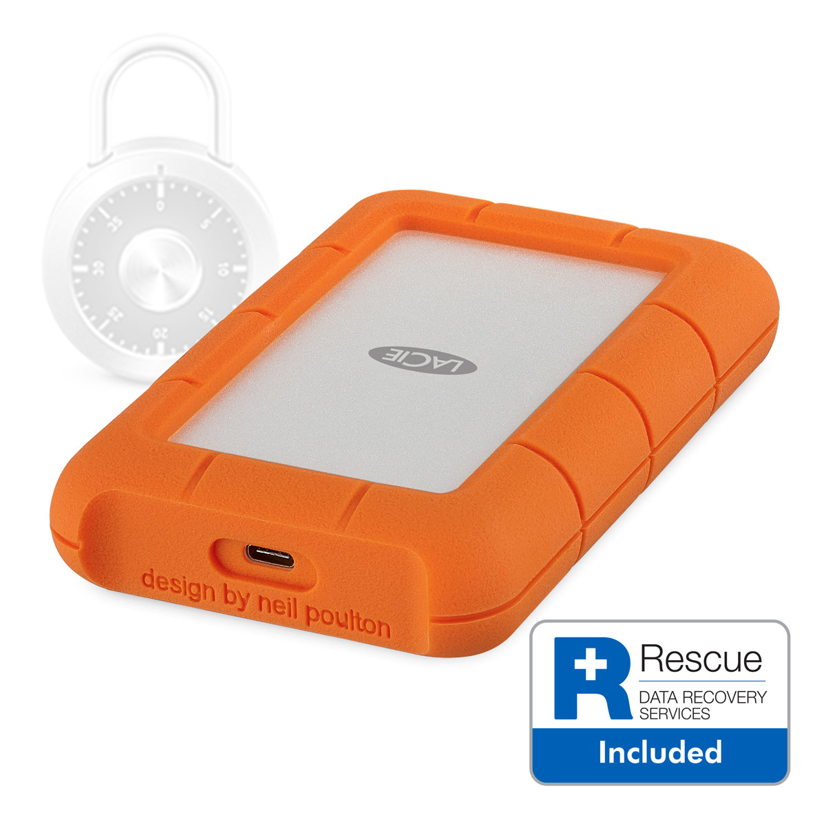 LaCie Rugged SECURE 2TB 256-BIT AES Encrypted All-Terrain Hard Drive