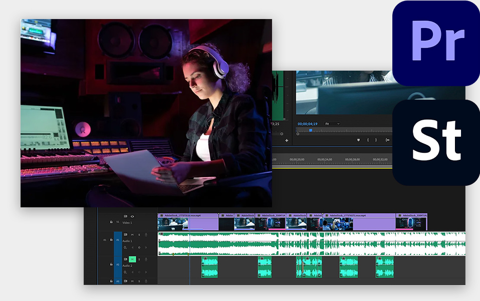 Audio in Premiere Pro from Adobe Stock