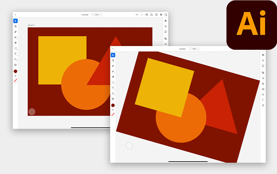 Canvas rotation and layer changing in Illustrator for iPad