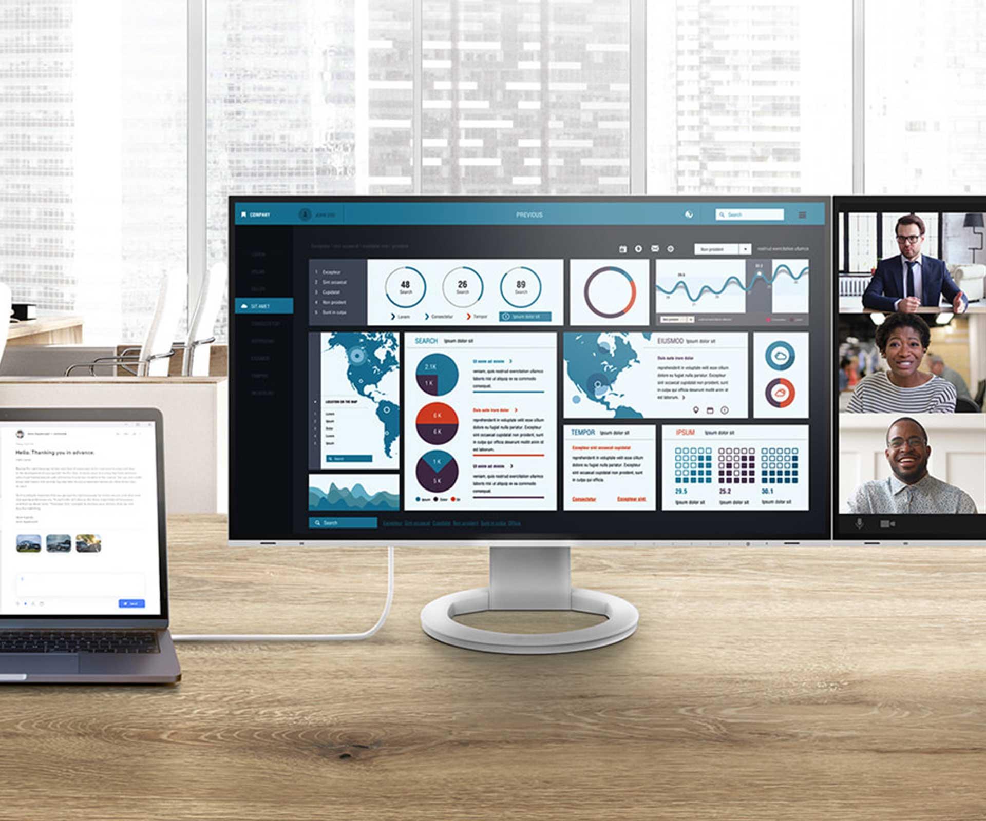 The EIZO FelxScan monitors in an office