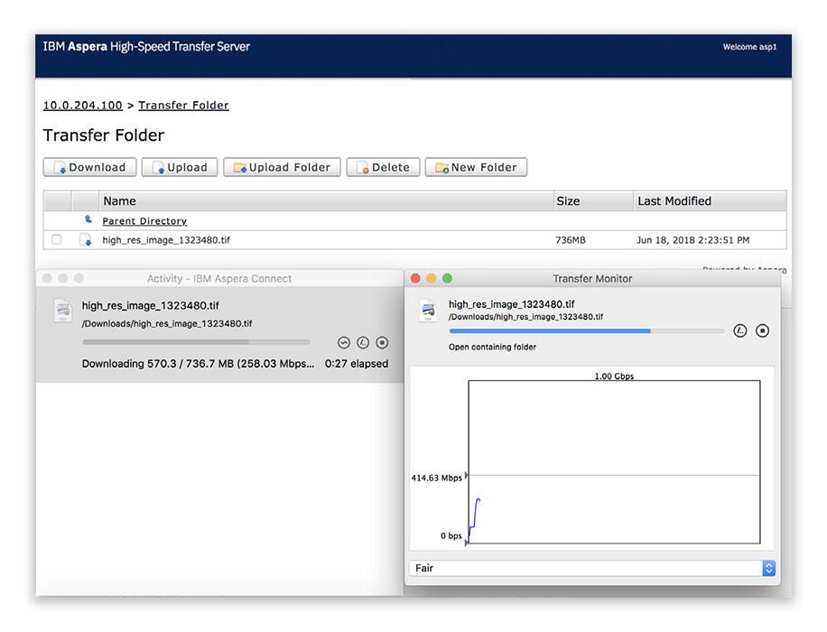 IBM Aspera high-speed transfer server screenshot