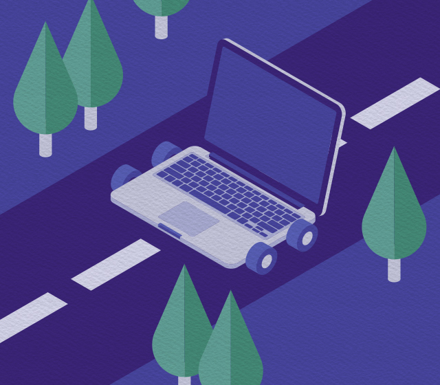 Illustration of a MacBook driving down a road
