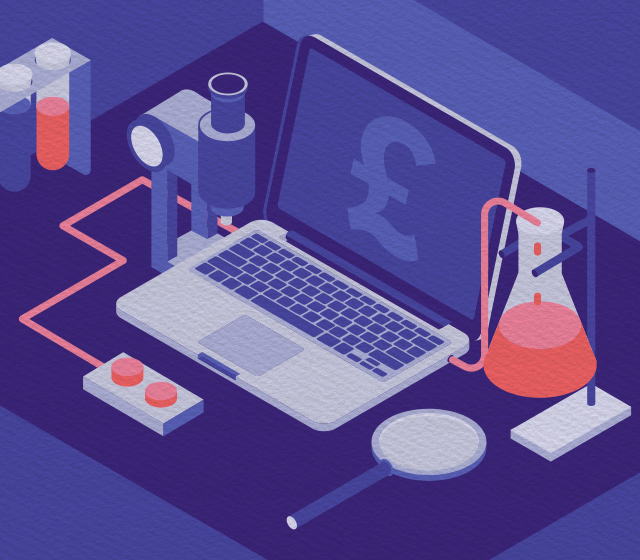 Illustration of a MacBook Pro in a science lab
